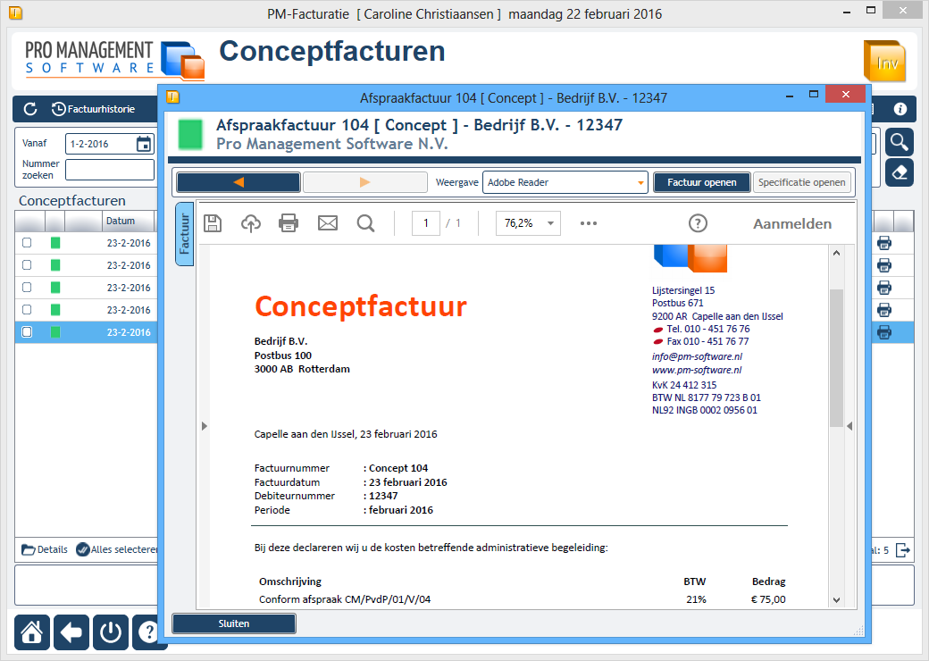 FACTURATIE Preview conceptfactuur